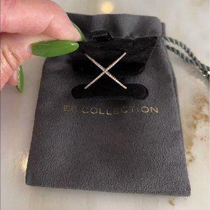 EF Collection '14K Rose Gold Diamond X Ring' sz 8